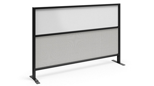 Segmented Flex Screen with Fabric Lower, Magnetic Dry-Erasable Steel Upper Core