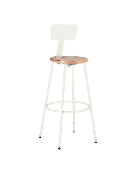 600 Series Stool Steel Back Wooden Seat Adjustable Legs