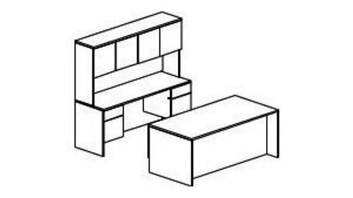 Pedestal Desk, Credenza and Overhead