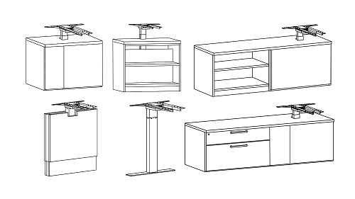 Modular Height-Adjustable Panel Leg, T-Leg, Credenza, Cabinet, or Bookcase