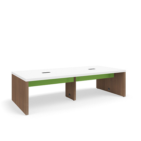 SerenadeGatheringTable StandardHeight 48x108 Contrast Stringer Power BookHooks FrontAngle