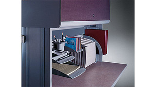 WorkZone Desking System | Overhead Cabinet with Fabric Door