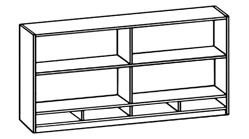 Tall Wall-Mount Open Hutch with Paper Sorter