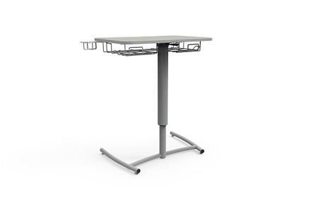 Ruckus desk adj pneumatic glides bookrack cupholder