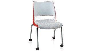 Doni Stack Chair | 4-Leg with Casters with 2-Tone Shell (Upholstered Seat)