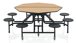 CafeWay Cafeteria Tables | Octagonal Table with Stools