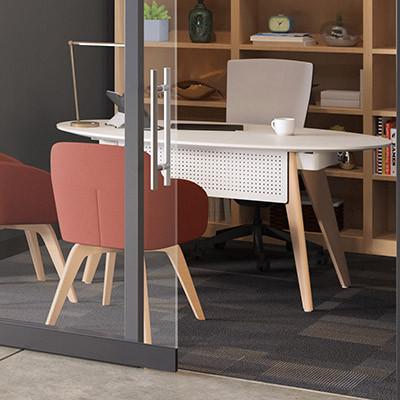 Connection Zone Wood Leg Desk