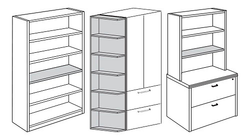 Freestanding, End or Surface-Mount Bookcase