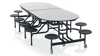 CafeWay Cafeteria Tables | Racetrack Table with Stools