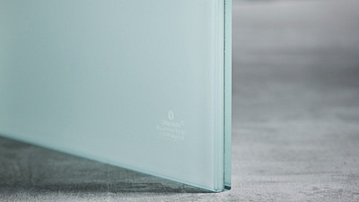 "Glass | 1/2"" White Laminate, 65% Opacity"