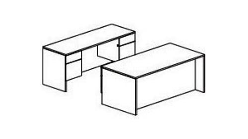 Pedestal Desk and Credenza