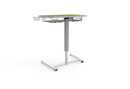 Ruckus desk adj pneumatic rolling bookrack cupholder