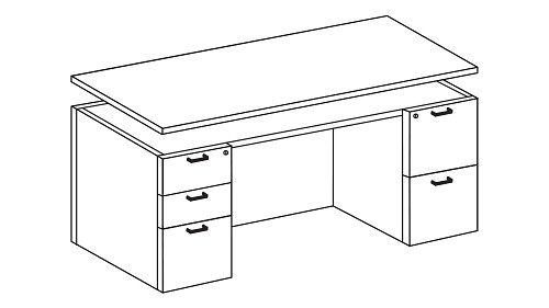 Height-Adjustable Double Pedestal Desk