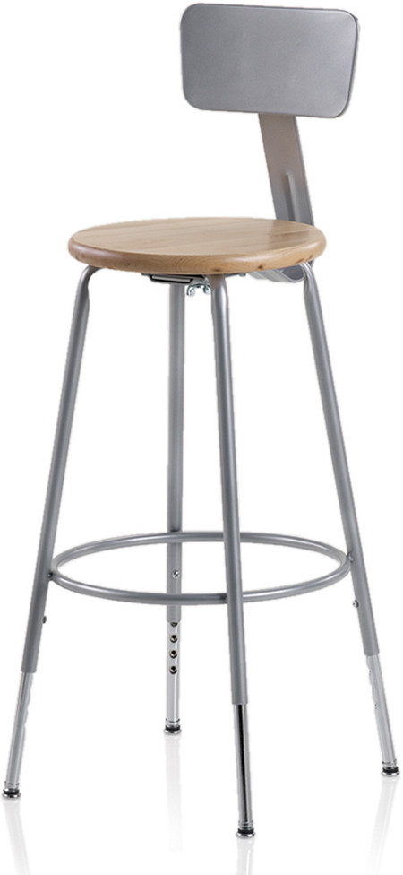 600 Series Industrial Stool Steel Backrest Wood Seat