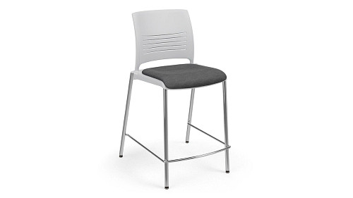 Cafe Stool with Upholstered Seat