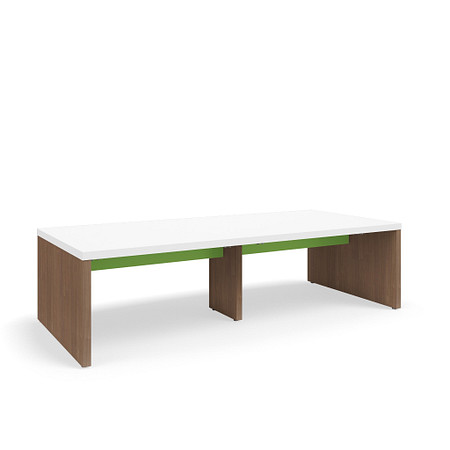SerenadeGatheringTable StandardHeight 48x108 Contrast BookHooks Stringer FrontAngle