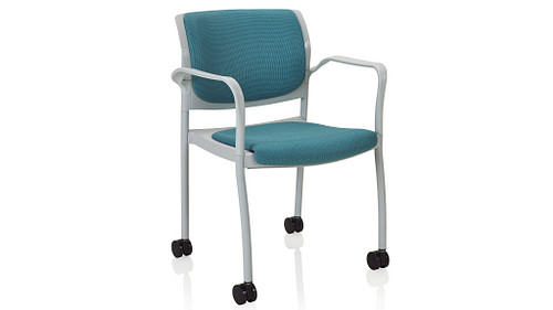 Stack Chair with Casters and Upholstered Seat and Back