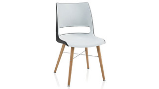 Doni Guest Chair | Tapered Wood Leg with 2-Tone Shell (Poly)