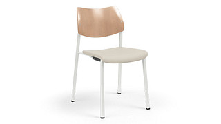 Katera Guest Chair | Wood Back and Upholstered Seat
