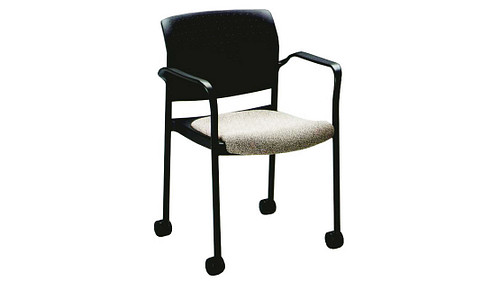 Stack Chair with Upholstered Seat and Casters