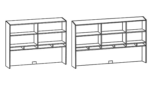 Tall Surface-Mount Open Hutch with Paper Sorter